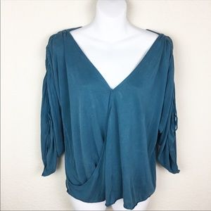 Free People blue wrap wide sleeve shirt blouse